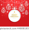 Christmas balls background paper cut style.  44808183