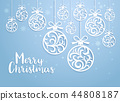 Christmas balls background paper cut style.  44808187