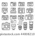 Camera line icons set. Vector illustration. 44808210