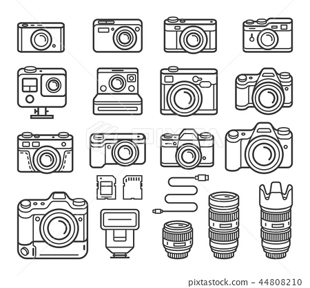 Camera line icons set. Vector illustration. 44808210