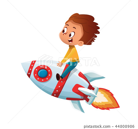 Happy Boy playing and imagine himself in space driving an toy space rocket. Vector cartoon 44808986