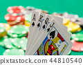 Poker cards with out of focus casino chip 44810540