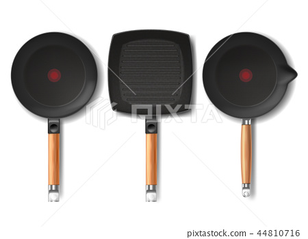 three black frying pans of various shapes 44810716