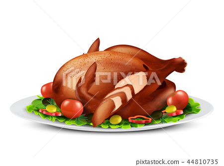roasted turkey or chicken with vegetables 44810735