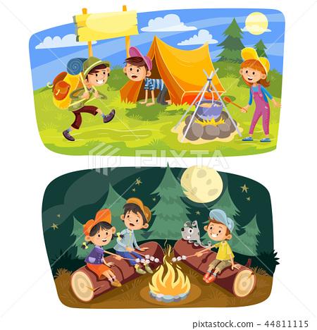 Kids summer camping concept illustration 44811115