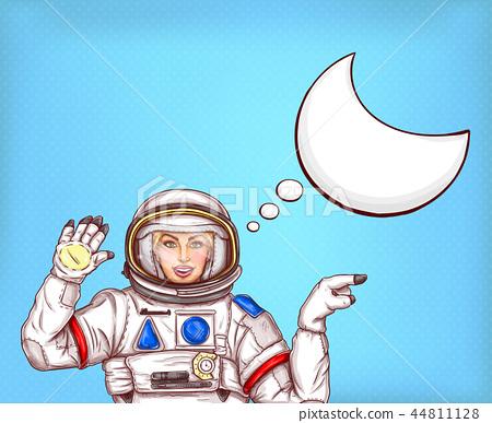Pop art astronaut girl in spacesuit 44811128