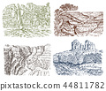 Mountain peaks with forest. Grand Canyon in Arizona. Graphic monochrome landscape. Engraved hand 44811782