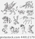 Set of Mythological animals. Mermaid Minotaur Unicorn Chinese dragon Cerberus Harpy Sphinx Griffin 44812170
