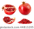Set of ripe pomegranate, half, piece and bunch of 44813205