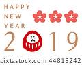 新年贺卡 贺年片 不倒翁 44818242