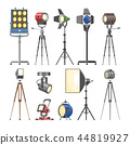 Spotlight vector light show studio with spot lamps on theater stage illustration set of projector 44819927