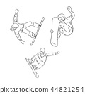 set of freeride snowboarder rolls on a snow  44821254