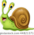 Cute snail cartoon isolated on white background 44821371