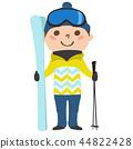 一個男孩的例證。我正試著用我的滑雪板和股票進行冬季運動滑雪。 44822428