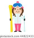 一個女孩的插圖。我正試著用我的滑雪板和股票進行冬季運動滑雪。 44822433