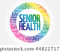 Senior health circle stamp word cloud 44822717