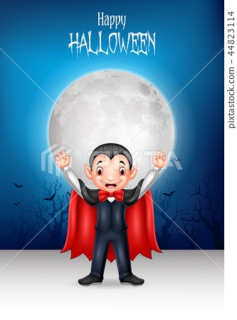Cartoon happy vampire with halloween background 44823114