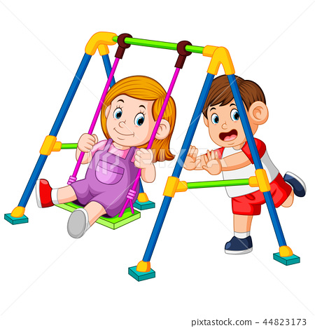 the children have fun playing swings 44823173