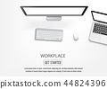 Realistic workplace desktop. Top view desk table. 44824396