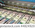 Printing 5 US dollar USD money banknotes 44824920