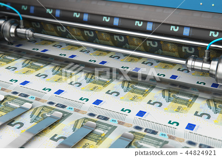 Printing 5 Euro money banknotes 44824921