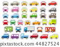 簡單的汽車正面和側面(顏色)(白色邊緣黑色邊框) 44827524
