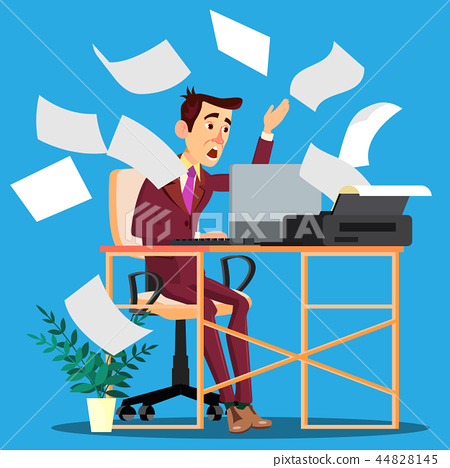 Sheets Of Paper From The Printer Scattering Around And On Frightened Manager Vector. Isolated 44828145