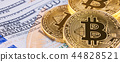 Bitcoin putting on US Dollar bank background 44828521