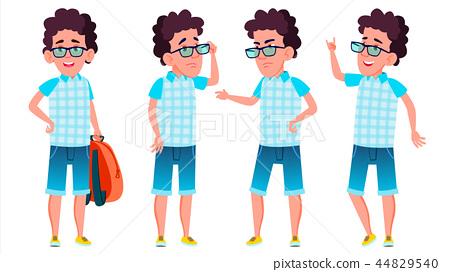 Boy Schoolboy Kid Poses Set Vector. High School Child. School Student. Expression, Happy Childhood 44829540