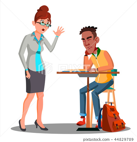 Angry Teacher And Student Sleeping At The Desk Vector. Isolated Illustration 44829789