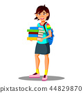 Smiling Asian Girl Student Holding Books In Hand Vector. Isolated Illustration 44829870