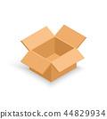 Opened isometric cardboard box. 44829934