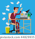Angry Manager Siting At Table Crumples The Paper And Throwing It In Paper Basket Vector. Isolated 44829935