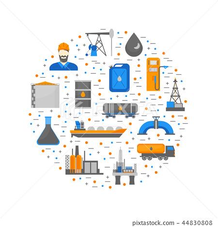 Cartoon Oil Petroleum Processing Round Design Template. Vector 44830808