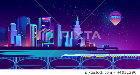 Vector background with night city in neon lights 44831290