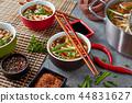 duck udon noodle vegetables soup, close-up 44831627