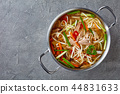 overhead view of duck noodle soup 44831633