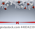 Snowy Branches Decorated with Baubles 44834239