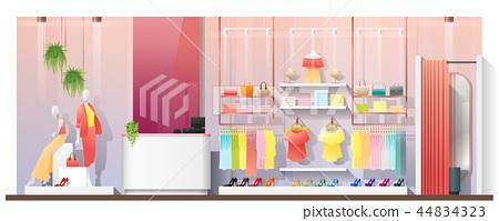 Interior scene of modern women clothing store 44834323