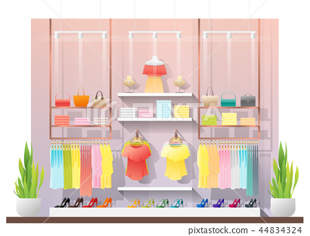 Interior scene of modern women clothing store 44834324