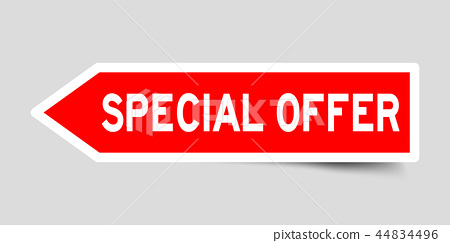 Sticker in red arrow shape with word special offer 44834496