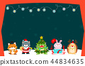 Cute animal Christmas character background vector. 44834635