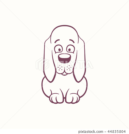 Cartoon Basset Hound in the ink contour style 44835804