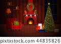 Cozy New Year Christmas flat cartoon interior concept vector style.Indoor view with burning 44835826