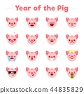 Year of the Pig flat cartoon character emoji emoticons set.Different type of funny mascot piglets 44835829