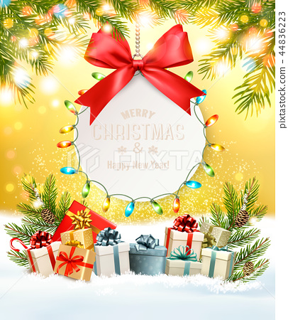 Holiday Christmas background with a gift card  44836223