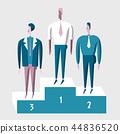 Winner business people on pedestal. Concept of achieving a business goal. Vector modern flat 44836520