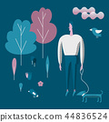 Man walking and playing with his dog. Flat style vector modern illustration. 44836524