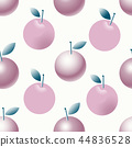 Vector seamlesss pattern with apples and leaves. Modern fruit illustration in flat style. Can be use 44836528
