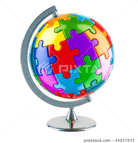 Geographical globe from colored puzzles 44837933